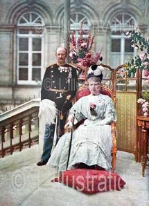 Premier cliché d'actualité en couleur : Frédéric VIII et la reine Louise de Danemark à Paris, 1907