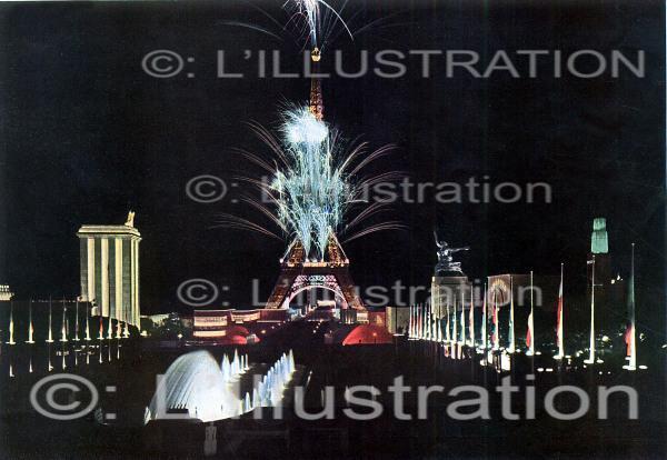 Illuminations de Paris lors l'Exposition universelle en 1937