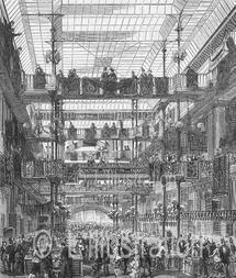 Galerie du magasin Au Bon Marché, gravure de Baude, 1880