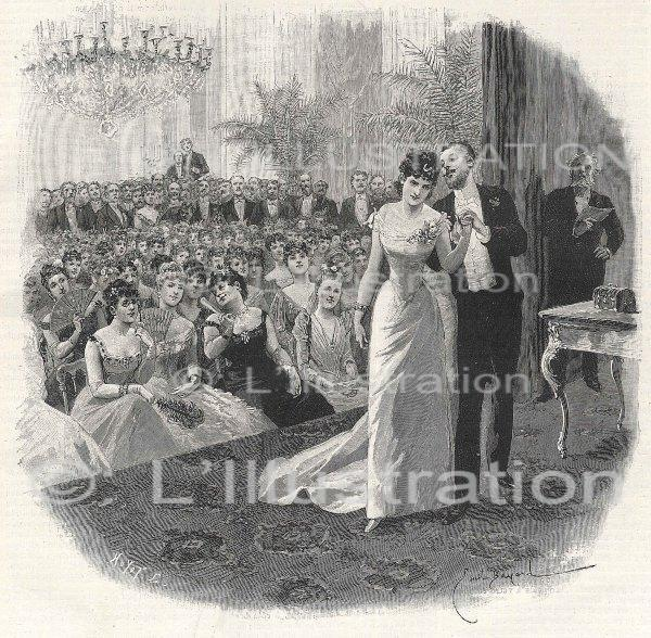 Théâtre parisien en 1890, illustration d' E. Bayard pour le roman