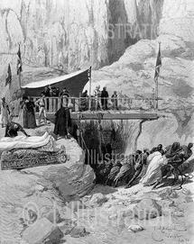 Extraction de sarcophages à Deir-el-Bahari, gravure de Bellenger, 1891