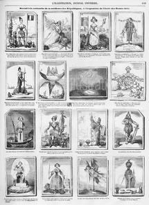 Dessin humoristique de Bertall : Bertall à la recherche de la meilleure des républiques, 1891
