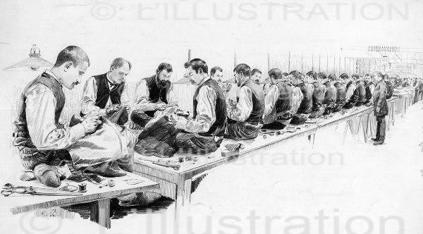 L'atelier des tailleurs du Bon Marché, dessin de Binet, 1889
