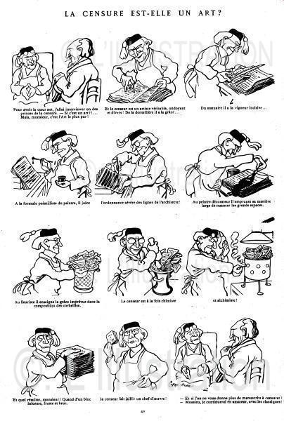 Caricature de Caran d'Ache sur la censure de la presse au 19e siècle