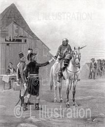 La dépêche, un des moyens de communication sous l'empire, oeuvre de Chaperon, 1897.