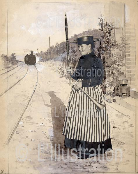 La garde barrière, première photographie retouchée, 1891