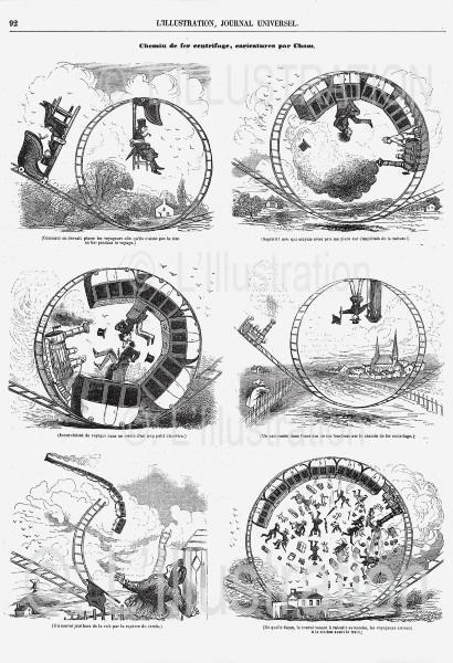 Caricature sur le chemin de fer centrifuge, 1846
