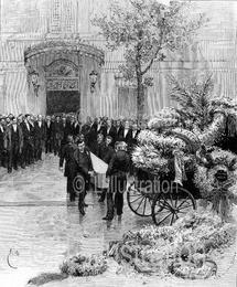 Les funérailles de Victor Hugo, gravure de Dochy et Le Révérend, d'après un dessin de Bayard, 1885