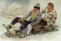 Sports d'hiver dans les Alpes, dessin de Fauret, 1930