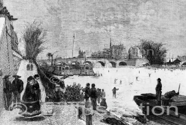 La Seine recouverte de glace, en 1868. Gravure d'après le dessin de Ferat.