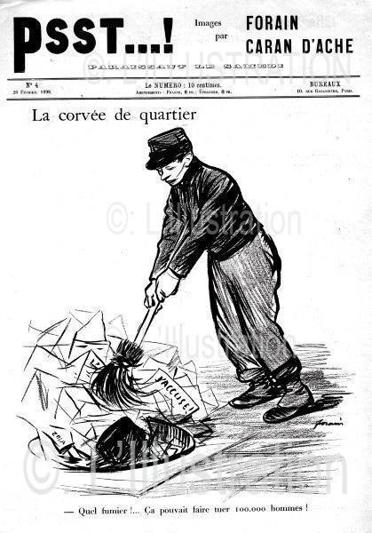 Caricature de Forain sur l'affaire Zola suite au procès Dreyfus en 1898.