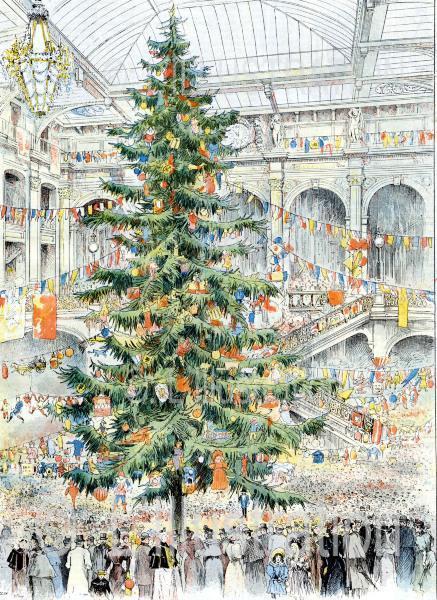 L'arbre de Noël des Grands Magasins du Louvre, aquarelle de Fraipont, 1893.