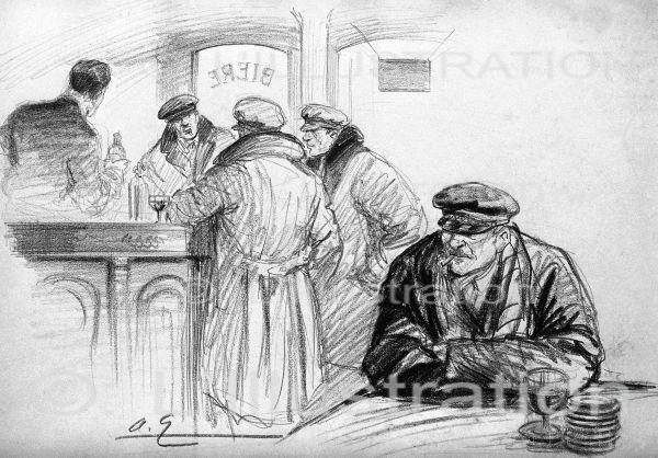 Discussion dans un bar après l'enlèvement du général Koutiepof à Paris, dessin de Galland, 1930.