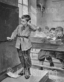 Élève au tableau en 1882, peinture de Geoffroy