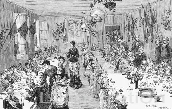 Banquet offert par Victor Hugo aux enfant pauvres de Veules-en-Caux, gravure d'après un dessin de Gilbert, 1882
