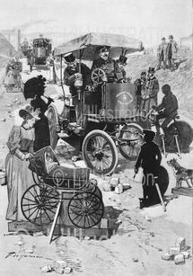 Pistes d'apprentissage pour conduire les fiacres électriques à Aubervilliers, dessin de Haenen, 1898.