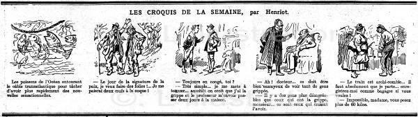 Caricature d' Henriot sur la grippe espagnole, 1918