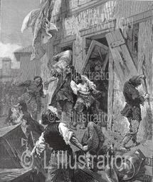 Mouvement anti-sémitique en Russie : attaque de la populace d'une maison juive, 1884.
