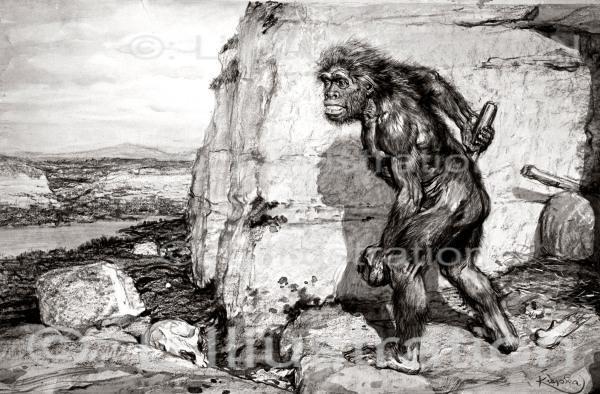 Les débuts de l'humanité, dessin de Kupka, 1909.