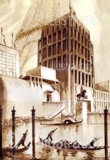 Pavillon de l'Italie à l'exposition universelle de 1937 à Parix, dessin d'André Maire.