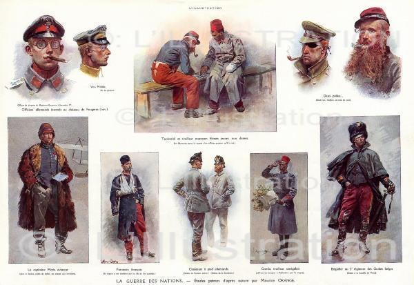 Les différentes tenues militaires, peinture de Maurice Orange, 1915.