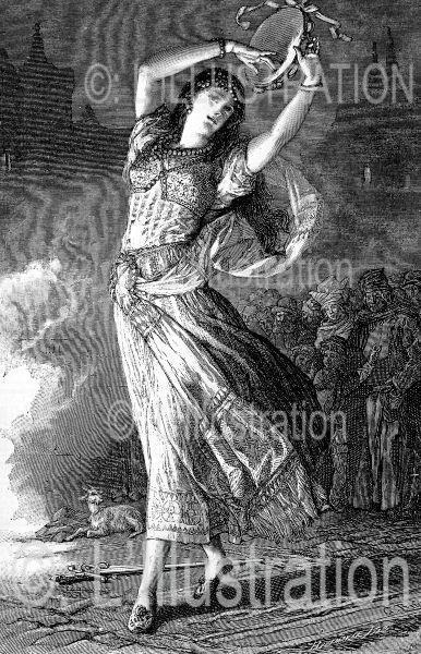Esmeralda dansant sur la place de Grève, gravure de Pannemaker, 1831.