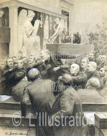 Affaire Dreyfus à la Chambre des députés, rixe entre Albert Sarraut et et M. Pugliesi-Conti, dessin de Sabattier, 1906.