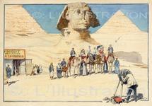 Touristes devant le Sphinx de Giseh, aquarelle de Scott, 1901.