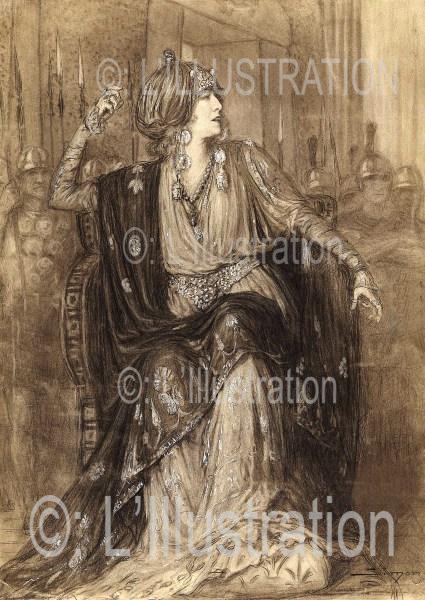 Sarah Bernhardt dans Athalie, dessin de Simont, 1920.