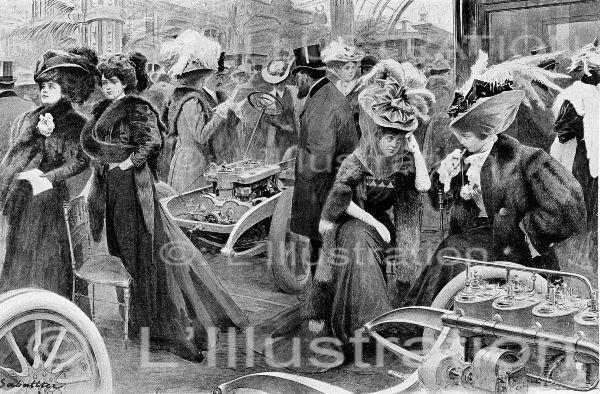 Salon de l'automobile au Grand Palais à Paris, dessin de Sabattier, 1906.