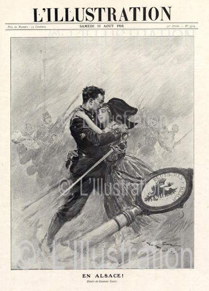 Première Guerre mondiale, en Alsace, dessin de Scott, 1914.