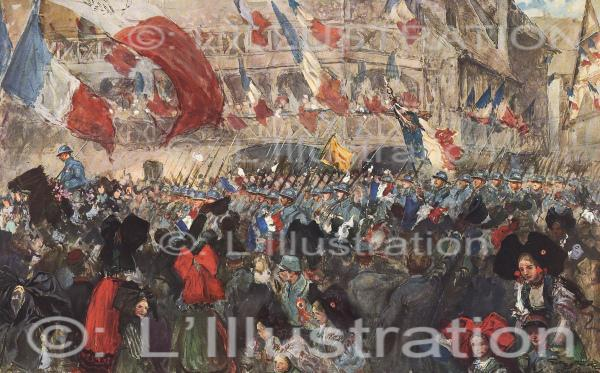 La quatrième armée française à Strasbourg, aquarelle de Scott, 1918.