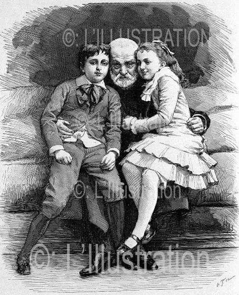 Victor Hugo et ses petit-enfants, gravure de Thiriat, 1881.