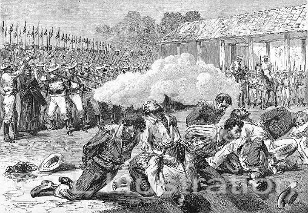 Exécution des membres de l'équipage du Virginius à Santiago de Cuba par les hommes du général Burriel, gravure de Yon, 1873