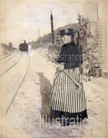 Les employés des chemins de fer, la garde-barrière, 1891