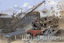 Locomotive faisant le plein de charbon, 1898