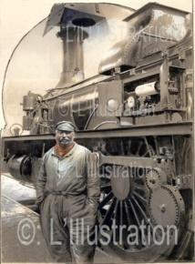 Un cheminot devant le compteur-enregistreur de vitesse de sa locomotive, 1898
