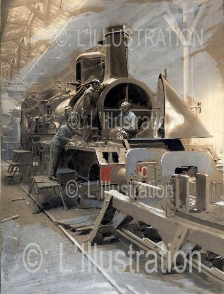Dans un atelier, une locomotive à bec en réparation, 1898