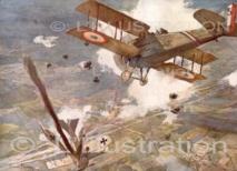 Biplan SPAD français encadré par des tirs de shrapnels a touché l'avion allemand qui s'abat en flammes, 1918