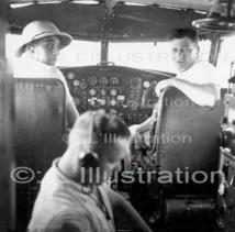 La cabine de pilotage de l'avion Altaïr, un trimoteurs Dewoitine-338, mis en service par Air France dès 1936