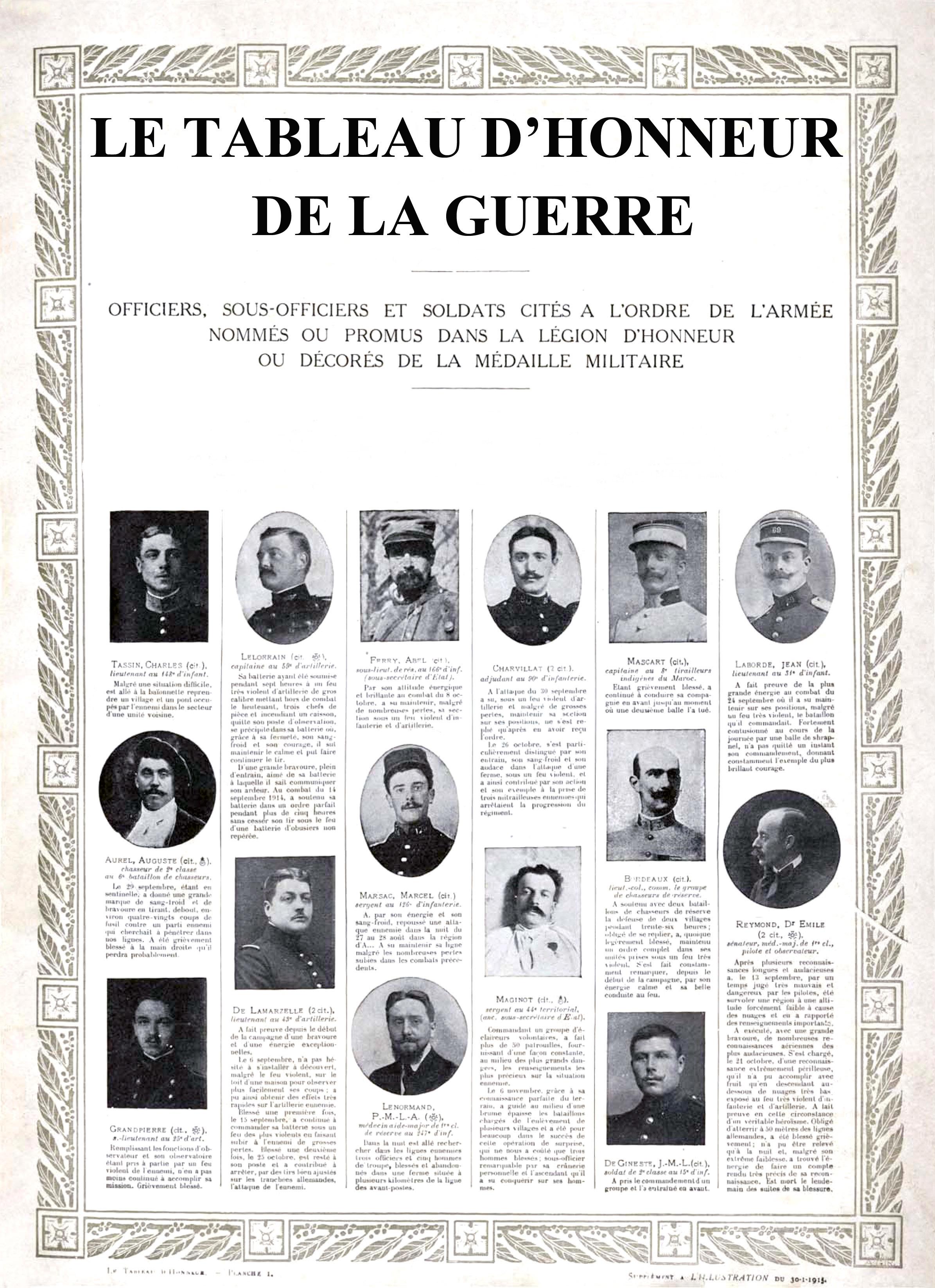 Tableau d'Honneur de la Première Guerre Mondiale de L'Illustration